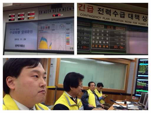 KPX's situation room during an electricity supply-demand emergency drill