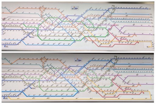 Comparison of Seoul metropolitan subway line maps before and after Bundang Line extension